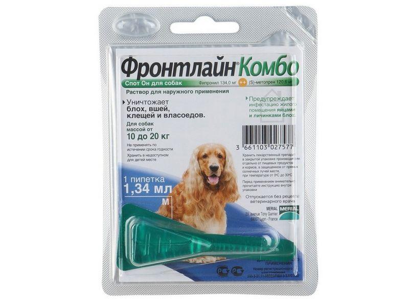 Фронтлайн Комбо для собак 10-20 кг (M) – для защиты от клещей и блох в форме капель (1 пипетка) - Фото