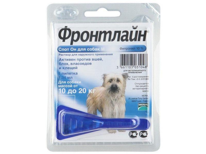 Frontline Спот Капли от блох и клещей для собак 10-20 кг, 1 пипетка (Spot M)  - Фото