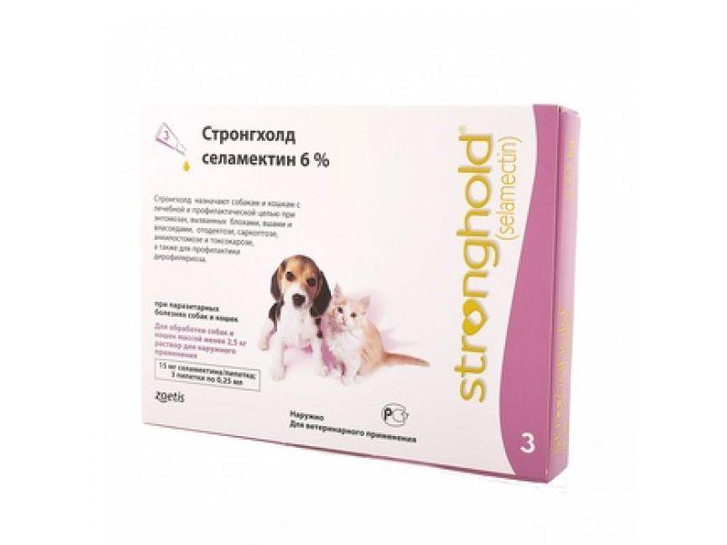 Pfizer Стронгхолд Капли от блох, клещей и глистов для котят и щенков, 3 пипетки (розовые) - Фото