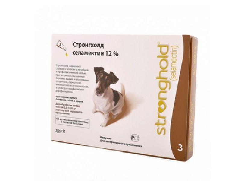 Pfizer Стронгхолд Капли от блох, клещей и глистов для собак весом 5-10 кг, 3 пипетки (коричневые)  - Фото