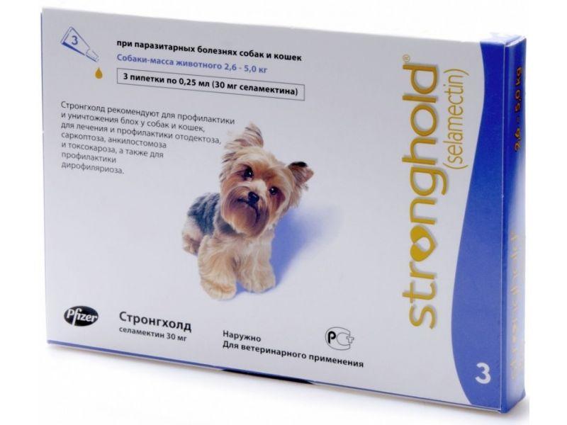 Pfizer Стронгхолд Капли от блох, клещей и глистов для собак весом 2,5-5 кг, 3 пипетки (фиолетовые)  - Фото