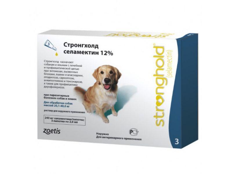 Pfizer Стронгхолд Капли от блох, клещей и глистов для собак весом 20-40 кг, 3 пипетки (зеленые)   - Фото