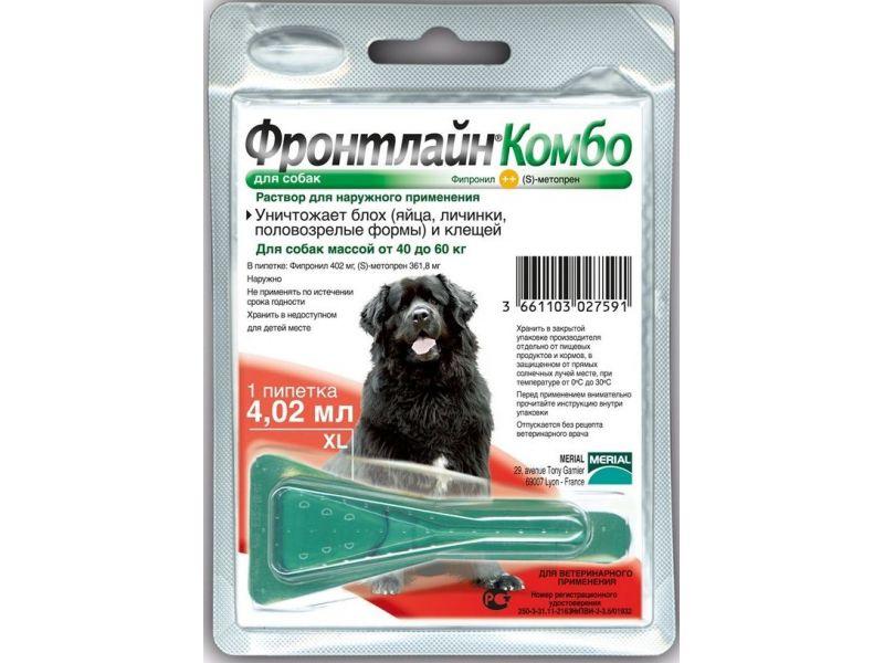 Фронтлайн Комбо для собак 40-60 кг (XL) – для защиты от клещей и блох в форме капель, (1 пипетка) - Фото
